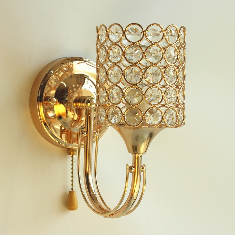 Bedside Wall Sconces Height : Bedside Bedroom Stair gold golden wall lamp light sconce-in Wall Lamps from Lights & Lighting on ...