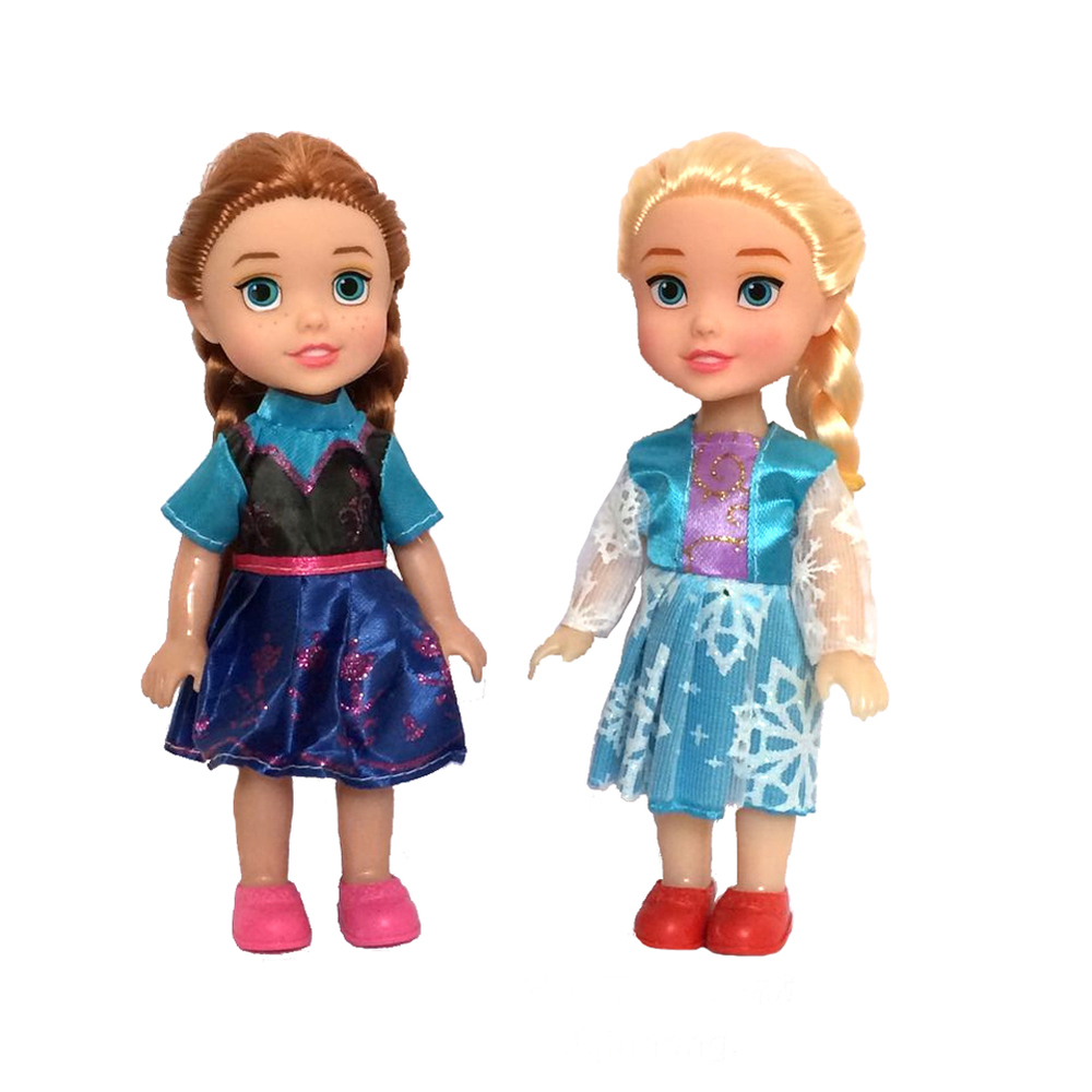 2pcs 16cm For Snow Queen Young Toddler Elsa and Anna Sisters Princess In Childhood Dolls Figure Toys Bonecas Figure Toy(China (Mainland))