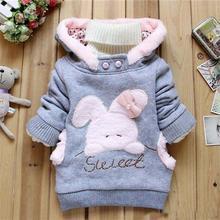 Kid Cartoon Hoodie Cute Rabbit Children Baby Girl Clothing Long Sleeve Fashion Clothes Sweatshirt 2015 Winter(China (Mainland))