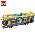 Enlighten Sightseeing Bus Tourist Attractions Guide Tourist Bricks Toys Minifigure Building Block sets Toys