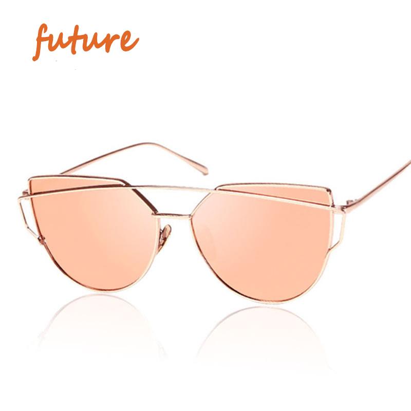 2016 New Cat Eye Sunglasses Women Vintage Fashion Rose Gold Mirror Sun Glasses Unique Flat Ladies Sunglasses Oculos UV400(China (Mainland))