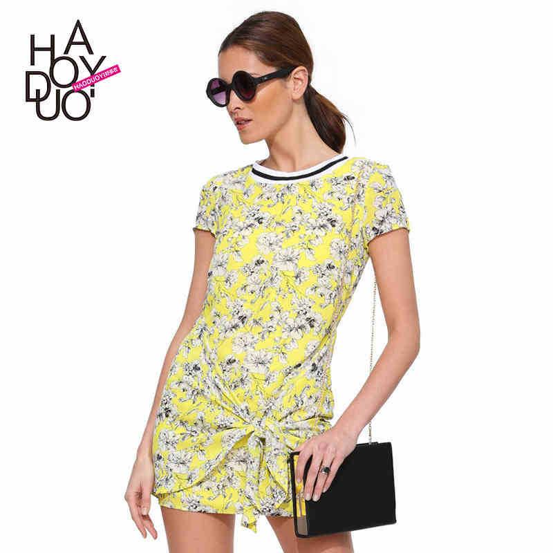 Vintage floral print women dress collar insert summer ...