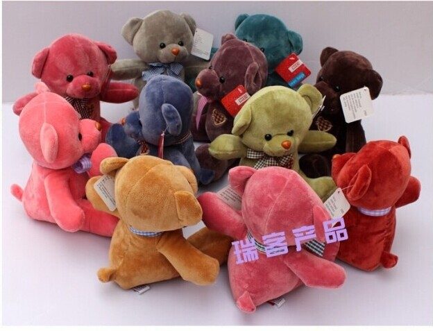 10 pieces cute teddy bear toys lovely high quality small teddy bear doll wedding gift about 25cm(China (Mainland))