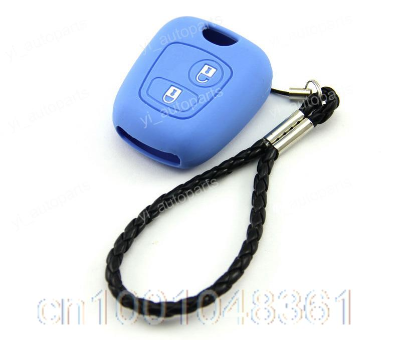 Blue Silicone Shell Case Holder Peugeot 107 207 307 407 106 206 306 C2 Remote Key - yiparts_plus store