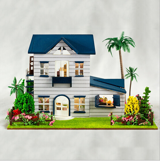 DIY wooden doll house new Christmas Birthday gift hand made toys kids mini coffee shop dollhouse cute europe model building(China (Mainland))