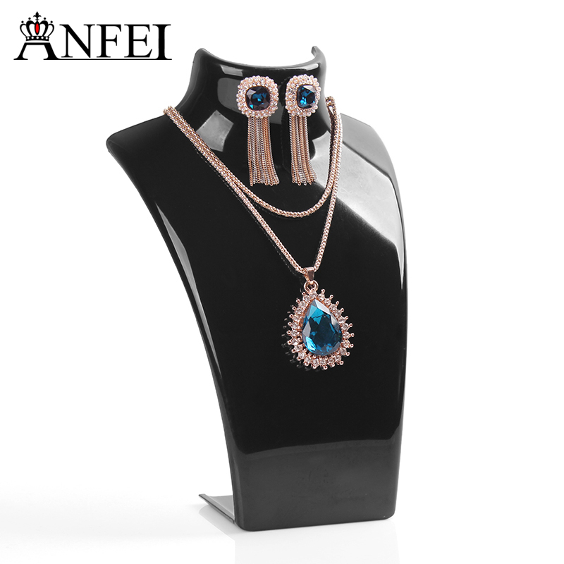 Free Shipping Wholesale Black Acylic Necklace display shelf Stand Holder,Fashion Jewelry Display,sold per packet of 1 set=10PCS