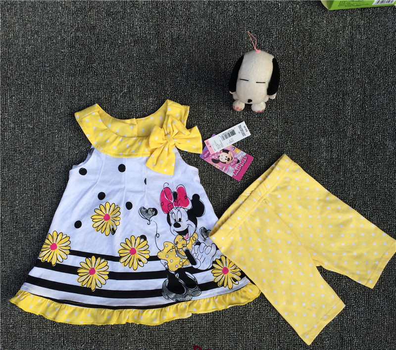 rocoo original brand 5sets/lot 1-4yrs Baby Girls Minnie vest Dress and Legging Set,minnie mouse dress two pieces sets<br><br>Aliexpress
