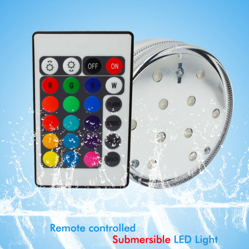 Rgb 10 Led Submersible Light Battery Operated Ip68 Waterproof Underwater Lights For Swimming
