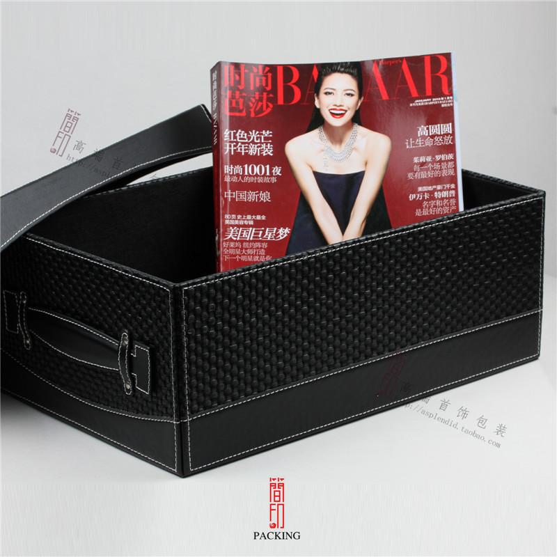 Very low price! High-grade leather black bin high-capacity storage box Clothes receive box sundry bin with metal logo(China (Mainland))
