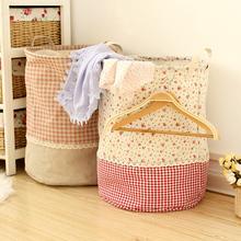 2016 New Zakka Linen Waterproof Laundry Storage Basket Folding Eco-friendly Sundries Clothes Toy Organization Box For Home Decor(China (Mainland))