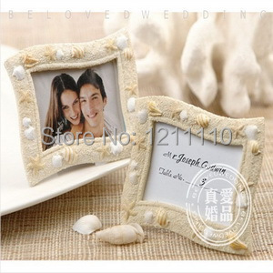 Wedding Shower Favors 'Seaside' Sand and Shell Place Card Holder Beach Wedding Favors Picture Frame+150sets/Lot+FREE SHIPPING