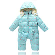 Newborn Baby Winter Romper White Duck Down Warmer Zipper Hooded Newborn Rompers Character Cartoon Long Sleeve Baby Boy Clothes(China (Mainland))