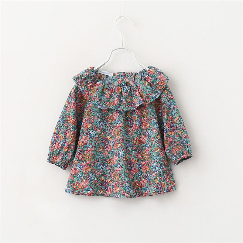 Baby Girls Print Vintage Floral T-shirts Kids Girls Spring Ruffle Collar Shirt 2016 Girl Fashion Classic Jumper Tops <br><br>Aliexpress