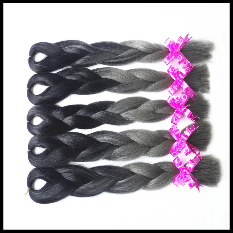 black T smoky grey ombre 2 toned color expression jumbo kanekalon synthetic braiding hair weaving bulk hair extenioson 100g/pc<br><br>Aliexpress