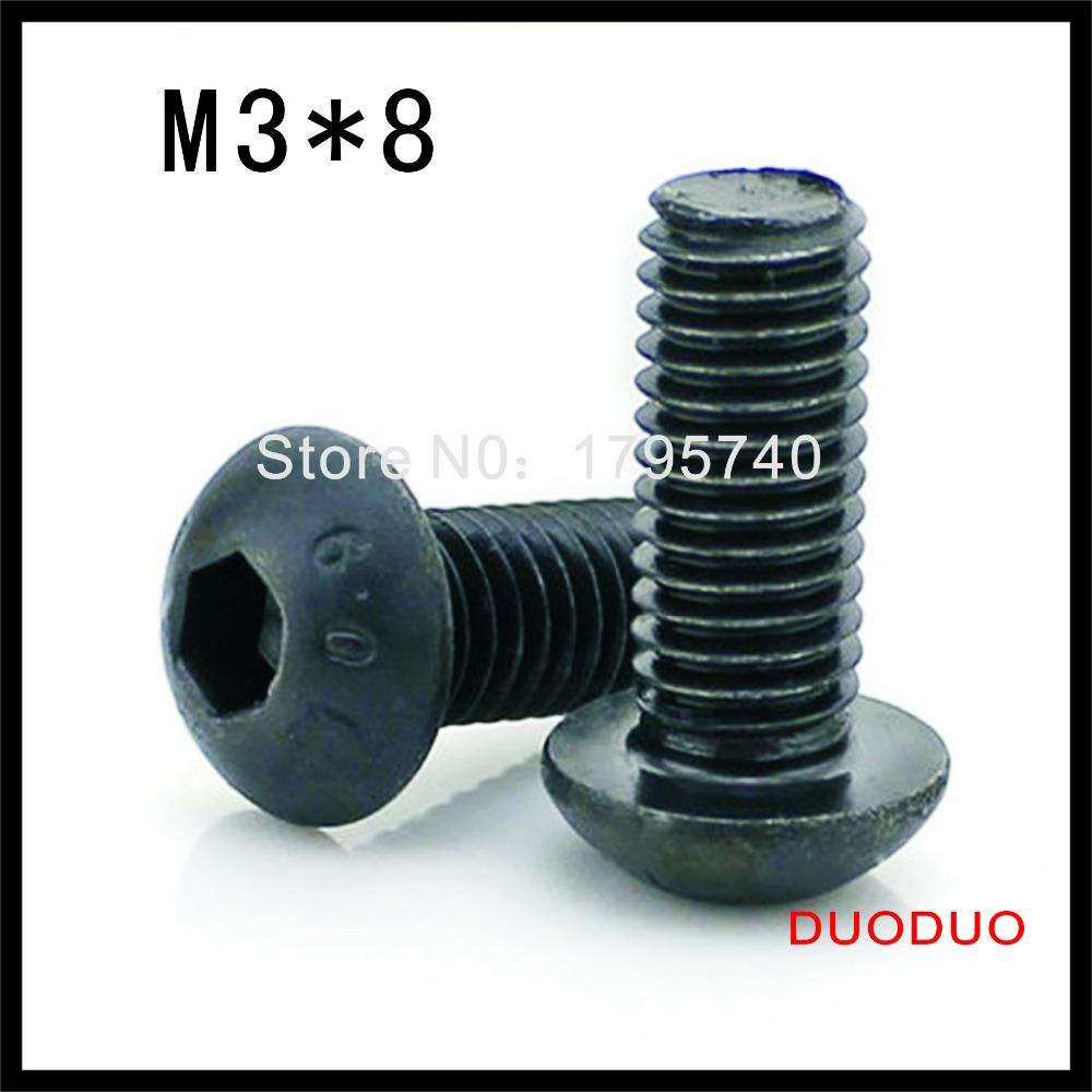 1000pcs ISO7380 M3 x 8 Grade 10.9 Alloy Steel Screw Hexagon Hex Socket Button Head Screws<br><br>Aliexpress
