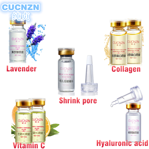 cucnzn vitamin c serum +100% plant extract hyaluronic acid serum face + collagen serum + lavender oil + pore minimizer skin care(China (Mainland))