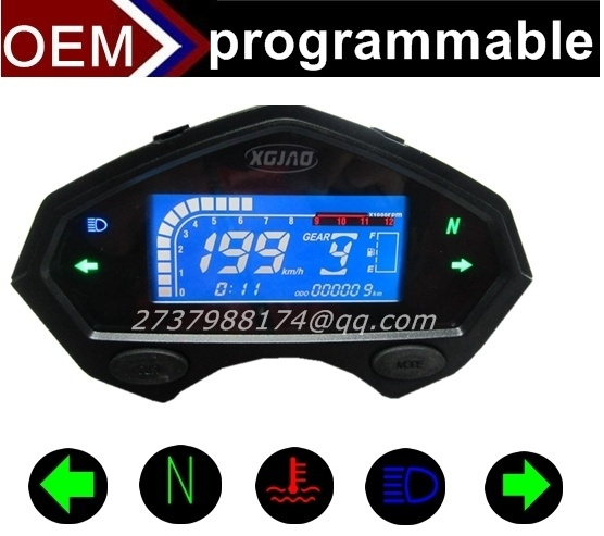 Motorcycle tachometer hour meter digital speedometer gear indicator motorcycle parts(China (Mainland))