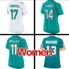 Women's #14 Jarvis Landry #17 Ryan Tannehill Ladies #11 Parker 13# Marino Light green white Game embroidery logo Free shipping(China (Mainland))