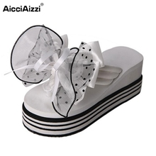 Buy Female Wedges Sandals Women Bowtie Platform Slipper Summer Shoes Trifle Beach Vacation Leisure Ladies Soft Footwears Size 35-39 for $12.86 in AliExpress store