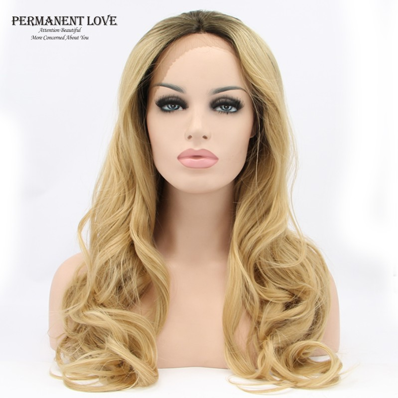 Body wavy long blonde wigs Heat Resistant Hair Women Wigs Glueless Synthetic Lace Front Wigs fashion girls cheap peluca blonde