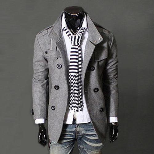 2016 Новый Британский Стиль Мужская Тонкий Теплый Пальто Мужчины Куртка Шерстяные Двойной Брестед Пиджаки Плюс Размер M-XXXL 13M0470