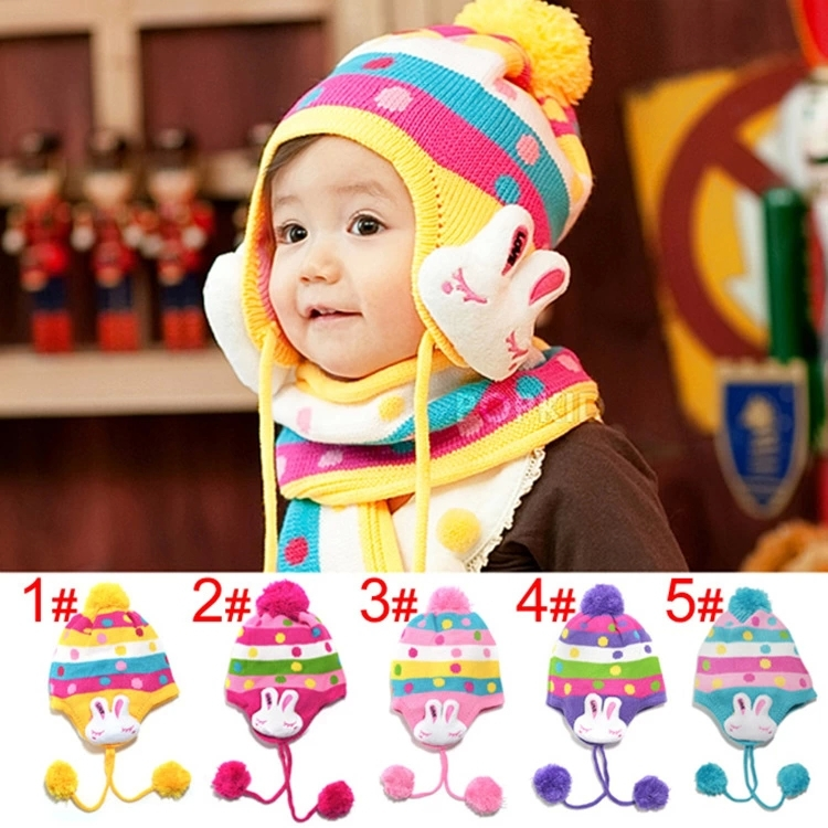 2014 New Fashion Cute Hot Spring Baby Cap Cartoon Rabbit Ear Children Baby Hat and Scarf Set Free Shipping 1set/lot(China (Mainland))