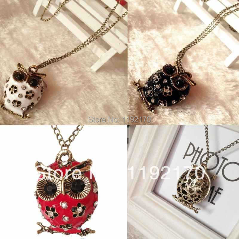 Chains Necklaces The animal Round Enamel Crystal Flower Owl Neckalces for Women Vintage Jewelry Lk1UC(China (Mainland))