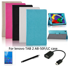 "4in1 protective Leather Case +OTG+ Screen Protector+touch pen For Lenovo YOGA TAB 2 A8-50  8"" Tablet PC dormancy"