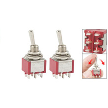 Shopping Time 2 Pcs ON ON 2 Position Double Pole Double Throw Toggle Switch