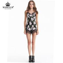 WISHCLUB New Fashion Women Sexy Floral Lace Mini Dress Ladies Spaghetti Strap Casual Printed Dress Women Clothe
