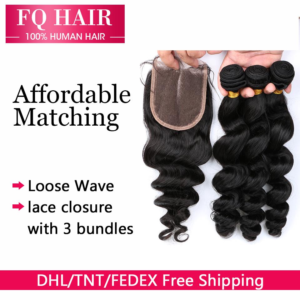 Grade 7A Best Peruvian loose wave closure,Human hair closure,Hair bundles lace closures DHL  -  Shop1092400 Store store