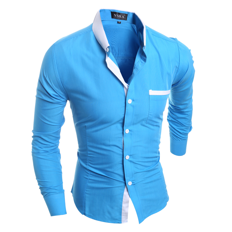 Men Shirt Luxury Brand 2017 Male Long Sleeve Shirts Casual Mens Simple Solid Single Breasted Slim Fit Dress Shirts Mens X5209
