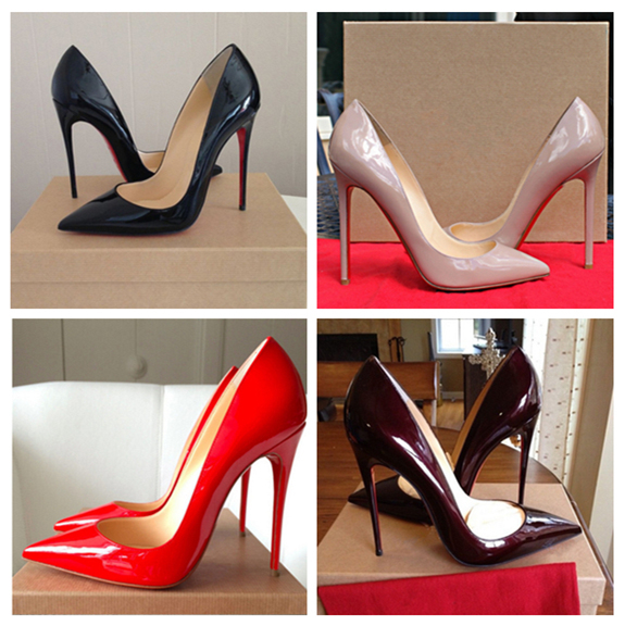 2015 red bottom high heels genuine leather women pumps fashion wedding shoes women plus size 35-43(China (Mainland))