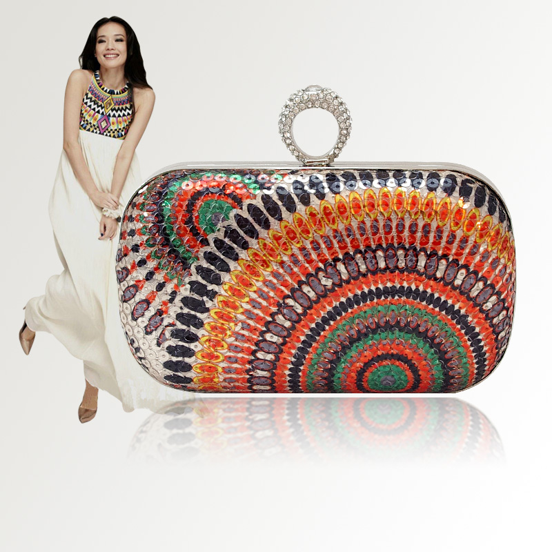 2013 Indian small bags finger ring buckle diamond-studded evening bag day tribal clutch min bags free shipping<br><br>Aliexpress