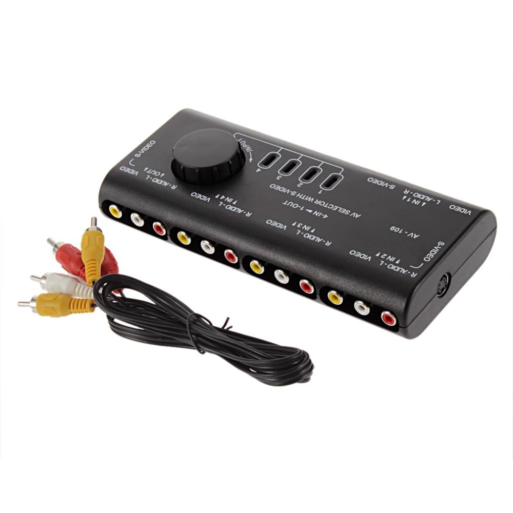 4 in 1 Out AV RCA Switch Box AV Audio Video Signal Switcher Splitter 4 Way Selector with RCA Cable For Television DVD VCD TV(China (Mainland))