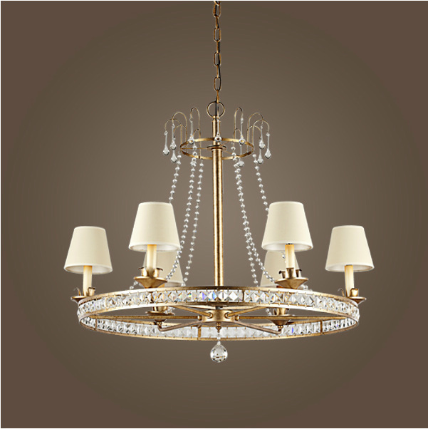 Nordic America vintage rustic sytle IKEA simple Mediterranean rural round gold iron crystal pendant lamp with 6/8 candle bulbs(China (Mainland))
