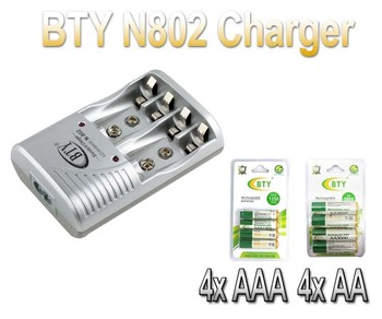 4* BTY AAA Ni-MH Rechargeable Battery Pack 1350Mah +4* BTY AA Ni-MH Rechargeable Battery Pack 3000Mah+802 EU charger