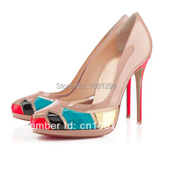pink mixing color elegant women sexy dress nude shoes high heel free shipping<br><br>Aliexpress