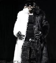 New Fashion Mens Stylish Faux Fur Winter Warm Thin Punk Cool X-Long Coat Outwear Black White(China (Mainland))