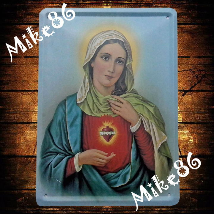 [ Mike86 ] The Virgin Mary Christian Tin Sign Vintage Wall Art decor Church Retro Madonna Metal Painting K-127 Mix Item 15*21 CM(China (Mainland))