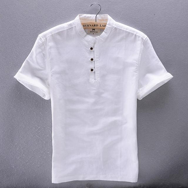 Альфа 2015 лето традиционный Chese стиль короткие рукава льняная рубашка тонкий шлифе ...