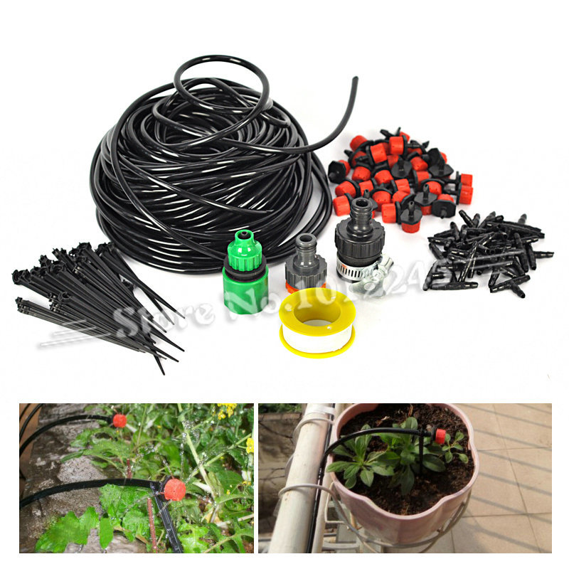 Hot 25m DIY Micro Drip Irrigation System Agriculture Sprinkler Garden Tools Automatic Plant Flowers Watering Garden Hose Kits
