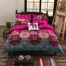 Bohemian style Floral Printing Twin/Queen/King size boho bedding set 4pcs duvet cover set bed linen(China (Mainland))