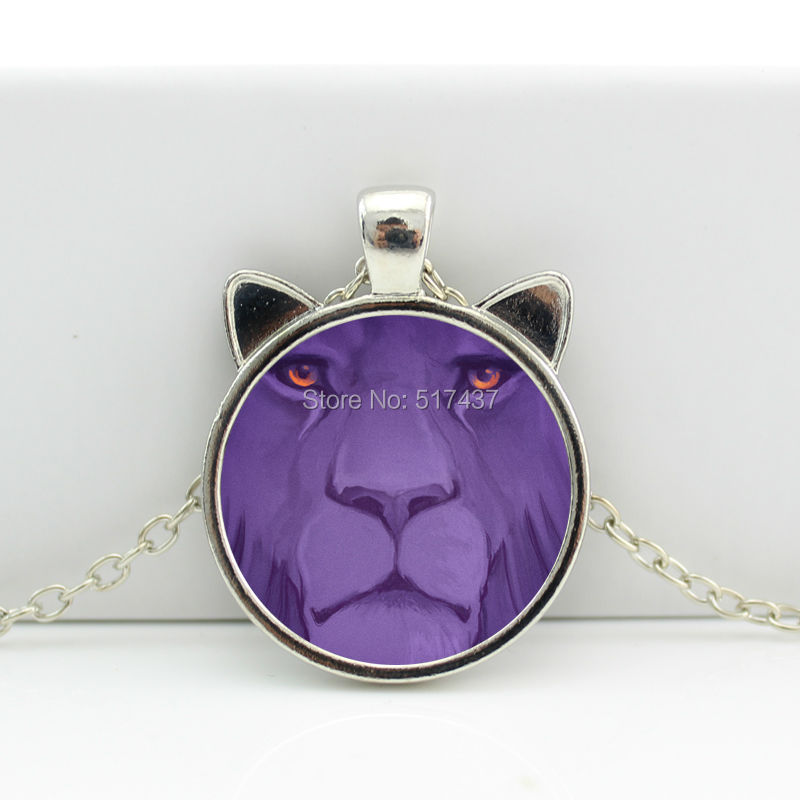2016 New Lion Pendant Necklace Lion Jewelry Glass Pendant Glass Cabochon Necklace N-00629(China (Mainland))