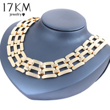 17KM 2016 Alloy Big Statement Necklace Vintage Punk Gold And Silver Plated Choker Necklace & Pendants Party Accessories(China (Mainland))