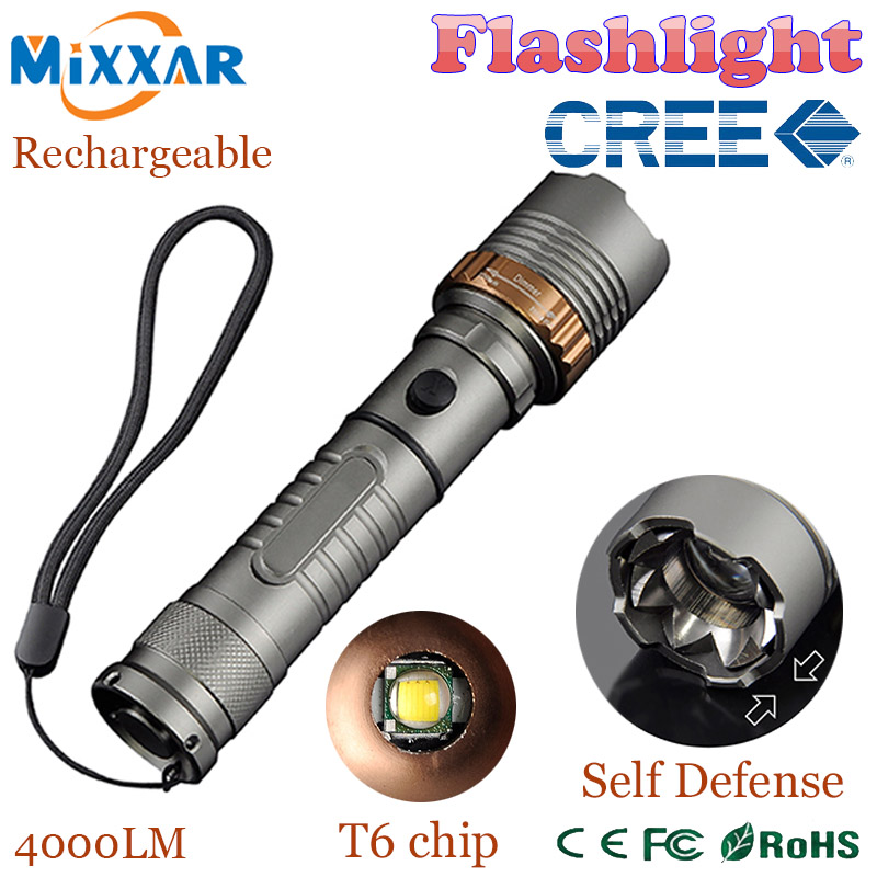 zk30 LED Self Defense flashlight Torch Cree XM-L T6 Rechargeable 4000LM Lamps powerful Tactical Emergency Defensive Lantern(China (Mainland))