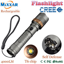 zk5 Self Defense LED flashlights Cree XM-L T6 4000LM Rechargeable Torch Lamps powerful Lantern Tactical Emergency Defensive lamp