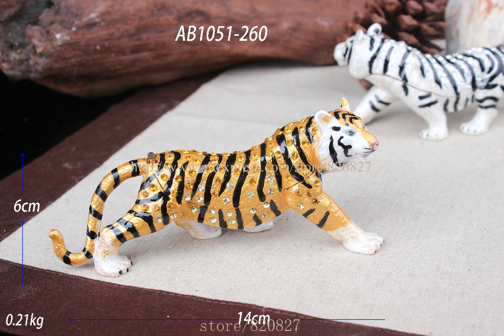 Tiger Bejeweled Trinket Jewelry Box Hinged Tiger Trinket Box Metal Animal Tiger Jjewelry Showcase Display Tiger Metal Crafts