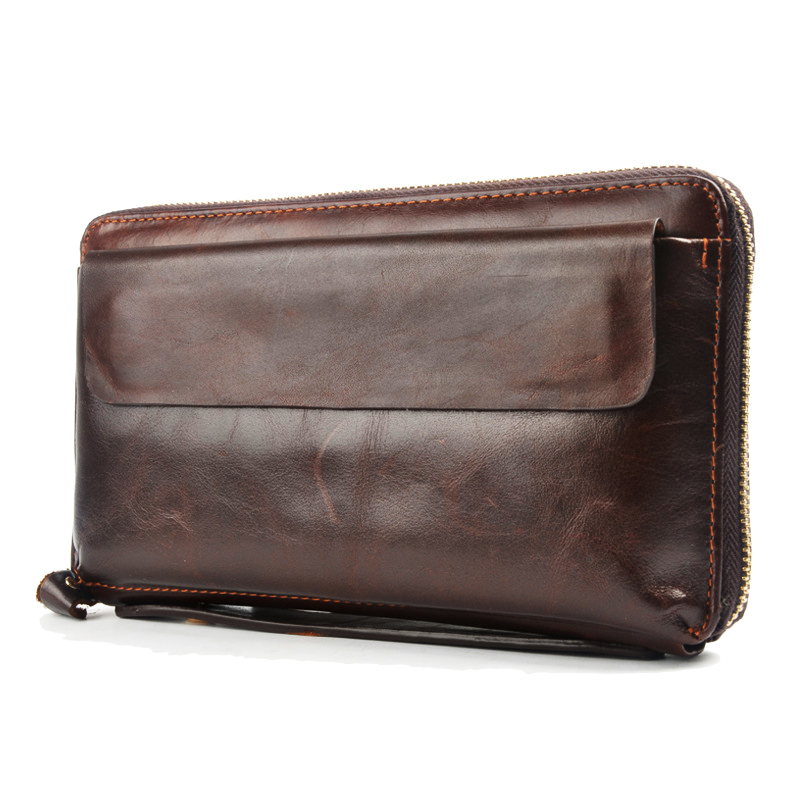 MS Mens' Vintage Genuine Leather Clutch Purse Men Business Clutch Hand Bag Cowhide Wallet(China (Mainland))