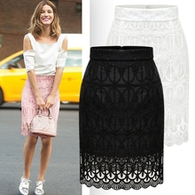 2016 Summer Women Vintage Embroidery Gauze Skirts Package Hip High Waist Skirts Womens Black White Knee Length Pencil Skirt